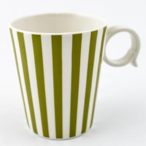 "Набор из 6-ти чашек оливково-белого цвета ""Полоски"""