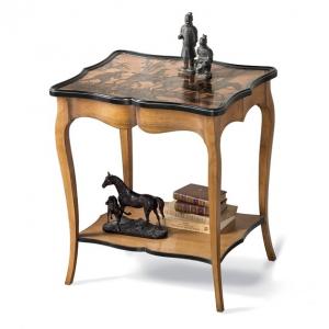 Журнальный столик из массива благородного дерева с рисунком на столешнице