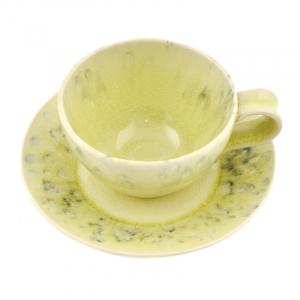 Лимонная чашка с блюдцем для чая Madeira