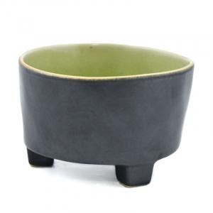 Тарелка для супа на ножках чёрно-зелёная Riviera