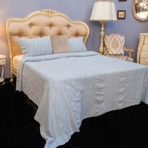 Покрывало голубое + 2 наволочки 100% хлопок Bard Villa Grazia Premium