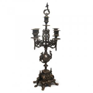 Роскошный канделябр на 4 свечи в стиле барокко из состаренной латуни