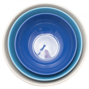 Набор из 3-х салатников кремовый/голубой/синий