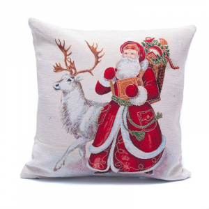 """Наволочка """"Дед Мороз и белый олень"""""""