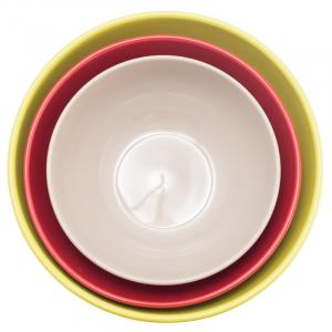 Набор из 3-х салатников салатовый/красный/серый