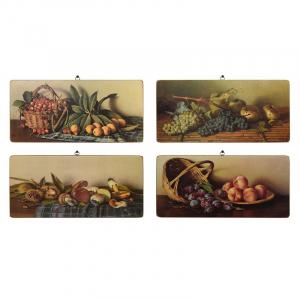 """Набор из 4-х картин с фруктами и грибами """"Натюрморты"""""""