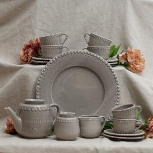 Чайный сервиз серый с тортовницей Фантазия