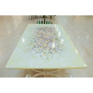 Стол с каменной столешницей на прочной металлической основе «Желтые цветы»
