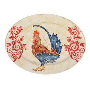 """Блюдо овальное с изображением петуха """"Кантри"""""""