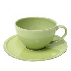 Чашки с блюдцем зелёные для чая, набор 6 шт. Friso