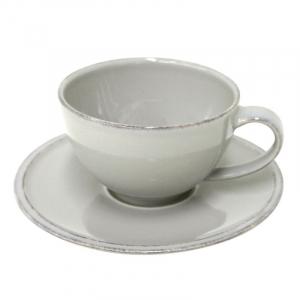 Чашки с блюдцем серые для чая, набор 6 шт. Friso