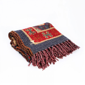 Шерстяной плед с двусторонним фольклорным орнаментом Folk Flavour