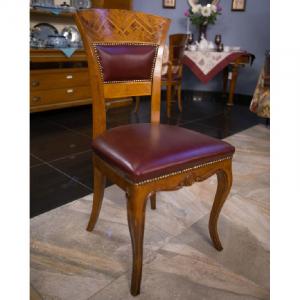 Стул ручной работы с высокой спинкой и кожаным сиденьем in Pelle Gabrielli Mobili