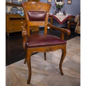 Стул-кресло из натурального резного дерева с инкрустацией шпоном  Gabrielli Mobili