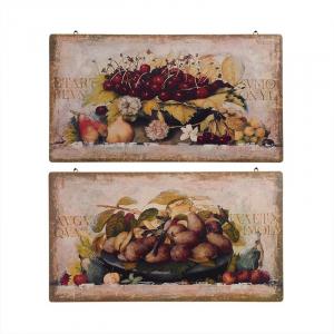 """Набор из 2-х картин в старинном стиле """"Фрукты и ягоды"""""""