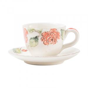 Чашка с блюдцем для чая Розы
