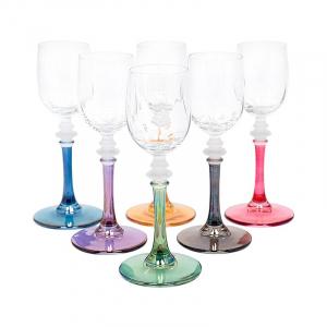 Набор из 6-ти бокалов для крепких напитков на разноцветных ножках