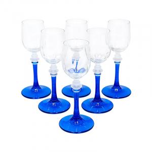 Набор из 6-ти бокалов для крепких напитков на синих ножках