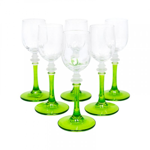 Набор из 6-ти бокалов для крепких напитков на зеленых ножках