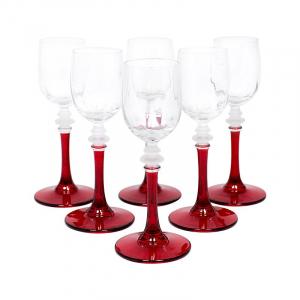 Набор из 6-ти бокалов для крепких напитков на красных ножках