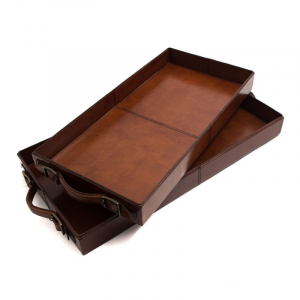 Лоток для бумаг кожаный прямоугольный, набор из 2-х шт.