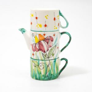 Набор чайник и 2 чашки, декор Цветок