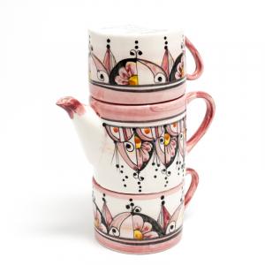 Набор чайник и 2 чашки, декор Абстракция