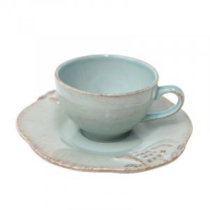 Чашка с блюдцем голубая для кофе Mediterranea