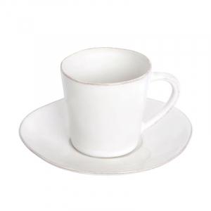 Белая чашка с блюдцем для кофе Nova
