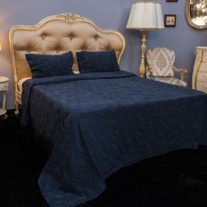 Покрывало темно-синее + 2 наволочки 100% хлопок Nos Villa Grazia Premium