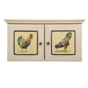 """Ключница деревянная белая с изображением птиц """"Петушки"""""""