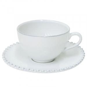 Большая белая чашка с блюдцем Pearl