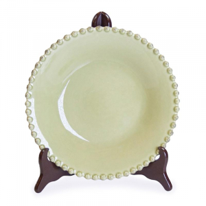 Тарелка для супа керамическая оливкового цвета Pearl