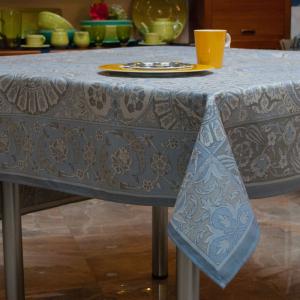 Скатерть Porcelaine с тефлоновым покрытием серо-синяя