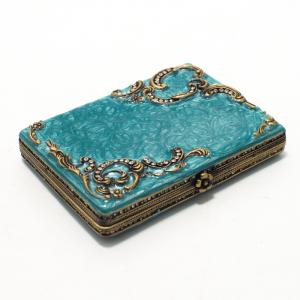 Роскошная подарочная визитница с голубой глазурью и декором в стиле Фаберже