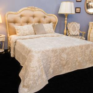 Покрывало бежевое +2 наволочки 100% хлопок Roma Villa Grazia Premium