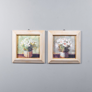 Набор 2-х репродукций картин Decor Toscana Ваза с цветами 42×42 см