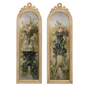 """Набор из 2-х картин в стиле барокко """"Фонтан в саду"""""""