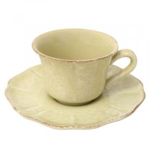 Чашка чайная с блюдцем из желтой коллекции Impressions
