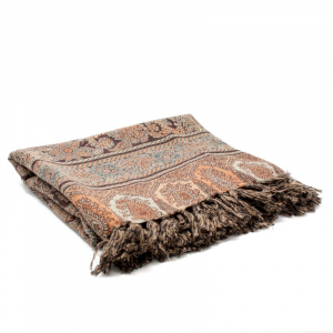 Шерстяной плед с двусторонним рисунком в коричневой палитре Desert Breeze
