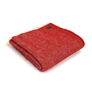 Плед Tweedmill Fishbone Red 150×183 см красный