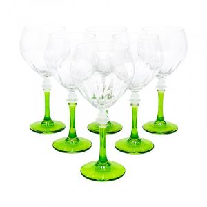 Набор бокалов на зеленых ножках для воды, 6 шт
