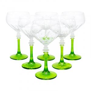 Набор из 6-ти бокалов на зеленых ножках для вина