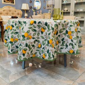Скатерть круглая с зеленой тесьмой «Цветение лимона»