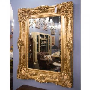 Большое зеркало венецианского стиля в роскошной золоченой оправе Bertozzi Cornici