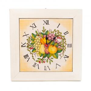 Часы керамические квадратные в деревянной раме