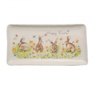 Прямоугольное большое блюдо для пасхального стола «Кроличья семейка»