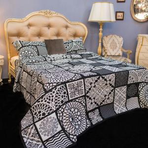 Покрывало черно-белое + 2 наволочки Nido Villa Grazia Premium