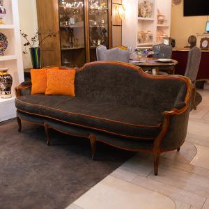 Трехместный диван из натурального дерева Luis XV