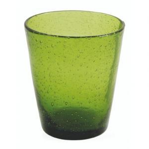 Стакан из прозрачного зеленого стекла с эффектом воздушных пузырьков